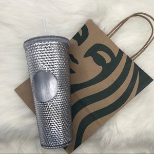 ✨STARBUCKS Studded Silver Cup Tumbler